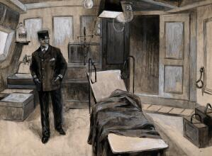 view Boer War: the operating theatre of a hospital ship in which stands a naval man. Gouache painting by F. Dickinson, 1899.