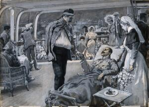 view Boer War: the ward of a hospital ship in which a nurse converses with an anxious lady and her daughter. Gouache painting by F. Dickinson, 1899.