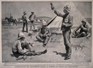 view Boer War: British soldiers outside their tent in camp at Chieveley, eating pineapples. Halftone, c. 1900, after G. Browne.