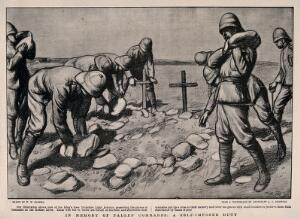 view Boer War: soldiers placing stones over the graves of their comrades on the Modder River. Halftone, c. 1899, after W. W. Russell after A. C. Girdwood.