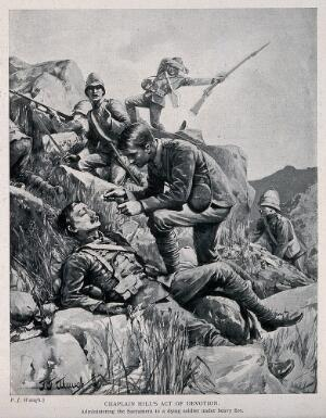 view Boer War: a chaplain administering the Sacrament to a dying soldier on a battlefield. Halftone, c. 1900, after F. J. Waugh.