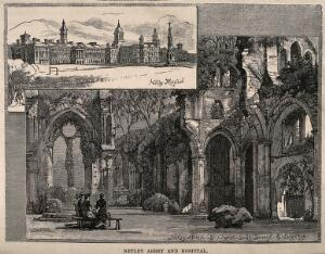 view Ruins of Netley Abbey with an inset of Netley Hospital. Wood engraving, c. 1900.
