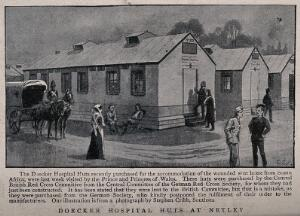 view Boer War: the Doecker Hospital Huts at Netley with patients and a horse-drawn carriage outside. Halftone, 1900, after a photograph by S. Cribb.