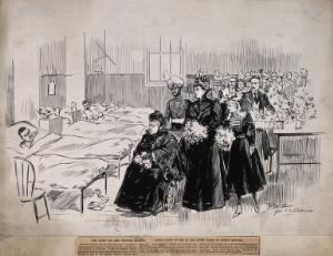view Her Majesty Queen Victoria and entourage visiting soldiers wounded during the Boer War, in a ward at Netley Hospital. Pen and ink drawing by J. Duncan, c. 1900, after F. C. Dickinson.