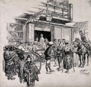 view Russo-Japanese War: a street scene in Tokyo with wounded Japanese sitting in a cart. Pen and ink drawing by D. MacPherson, 1904.