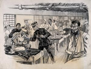 view Russo-Japanese War: a field hospital ward with an inspection of the first wounded Japanese to arrive home. Pen and ink drawing by D. Macpherson, 1904.