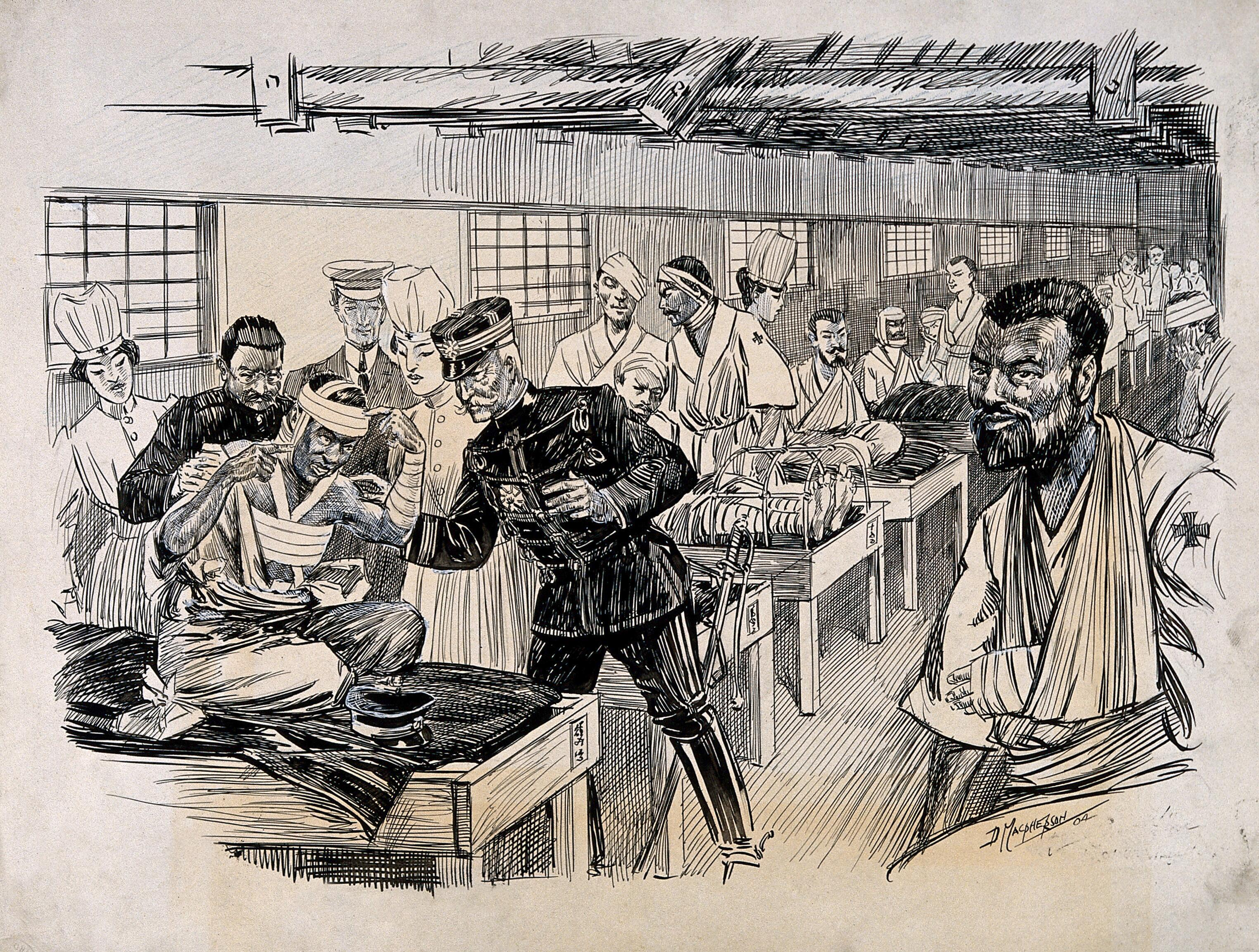 Russo Japanese War A Field Hospital Ward With An Inspection