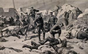 view Russo-Japanese War: Japanese soldiers entering a bombed fort to find dead and wounded men. Halftone, c. 1905, after C. M. Sheldon, from photographs.