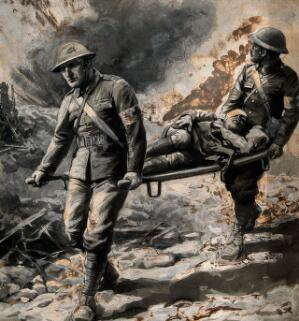 view World War One: two stretcher bearers removing a wounded man under fire. Wash painting, c. 1916.