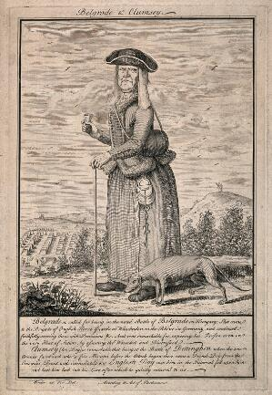 view A wizened old woman with her dog, with the story of their bravery at the battles of Belgrade and Dettinghen. Line engraving, c.1743, after Winder.