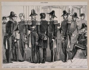 view Naval officers and men on a ship, dressed in the uniform of nine labelled ranks of the Royal Navy. Wood engraving.