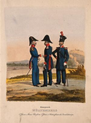 view Three uniformed German army officers in the Kingdom of Württemberg, two from the disabled soldiers corps. Coloured lithograph, c. 1870.
