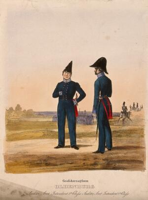 view Two uniformed German army doctors standing in the grounds of the House of Oldenburg. Coloured lithograph, c. 1870.