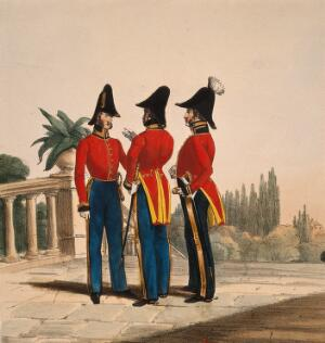 view Three uniformed German army officers conversing on a balcony in Holstein. Coloured lithograph, c.1870.