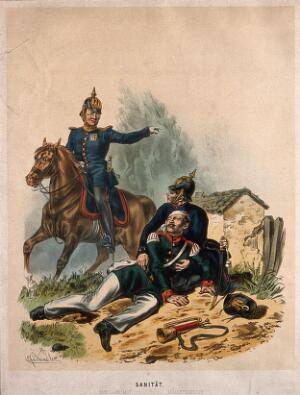 view A wounded soldier is helped on the ground by a medical officer under instruction from a mounted army doctor. Coloured lithograph by C. F. Schindler, c. 1900.