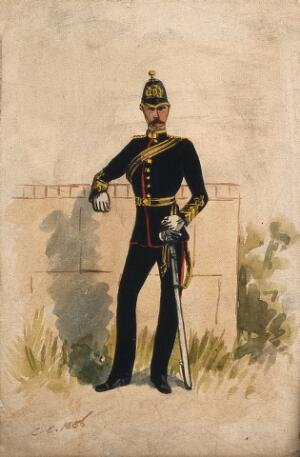 view A uniformed soldier from the army medical staff. Watercolour, 1886.