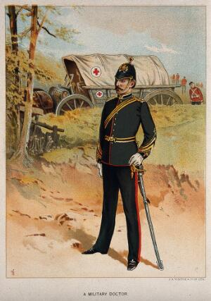 view A uniformed British military doctor in front of a Red Cross horse-drawn cart. Chromolithograph, c. 1870.