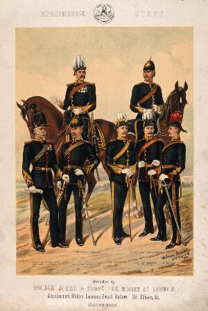 view Seven uniformed senior British army staff, two of whom are mounted. Chromolithograph, c. 1880.
