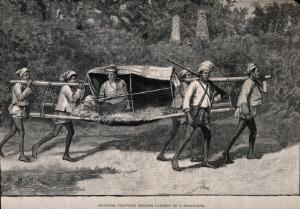 view Burma: a wounded political officer being carried on a stretcher. Wood engraving by P. Naumann, 1889, after W.B. Wollen.