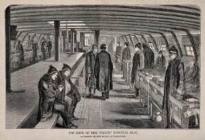 view A ward on the top deck of a hospital ship with patients standing or sitting by their beds. Engraving.