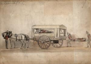 view A horse-drawn military ambulance, c. 1850, with one patient being carried on a stretcher. Coloured pencil drawing.