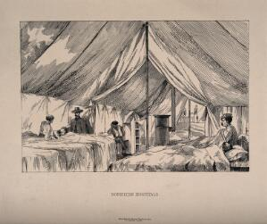 view A doctor visiting patients in a field hospital ward in a tent. Lithograph.