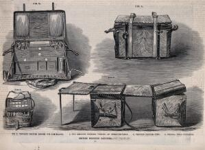 view Four figures of British medicine panniers illustrating a range of types and uses. Wood engraving by T. Mallet.