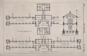 view An official floor plan and transverse section with scale for new military hospitals, c. 1862. Wood engraving after D. Galton.