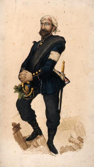 view A soldier with wounded head who has inserted medicinal plants in his helmet. Watercolour.
