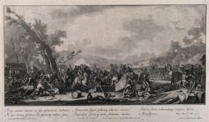 view Chaos in the aftermath of battle with the dead and wounded being attended to as the armies retreat. Engraving by J. J. Kleinschmidt after G. P. Rugendas I.
