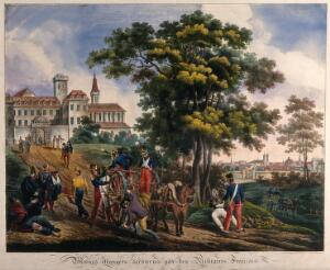 view Wounded foreigners outside the city walls being picked up by French soldiers and taken to a guarded fortress. Coloured lithograph by G. Engelmann after H. Lecomte, 1820.