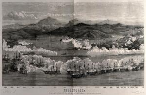 view Crimean War: a blazing battle in and around the harbour at Sevastopol, details of the French and English ships are given. Wood engraving, 1855.