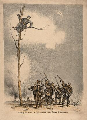 view Franco-German War: a French soldier high in a tree orders a group of well equipped Germans to stop firing on him. Colour lithograph.