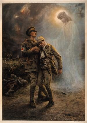 view First World War: two soldiers, one badly wounded, being comforted on the battlefield by a vision of Christ. Colour halftone after G. Hillyard Swinstead, 1915.