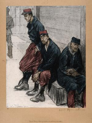 view World War One: three French prisoners of war slouching in a prison yard. Colour halftone after a crayon drawing by L. Raemaekers.