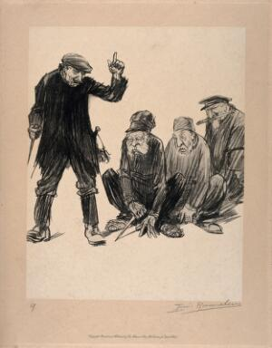 view World War One: three prisoners crouch at the feet of a fourth man who incites them to action. Halftone after a crayon drawing by L. Raemaekers.