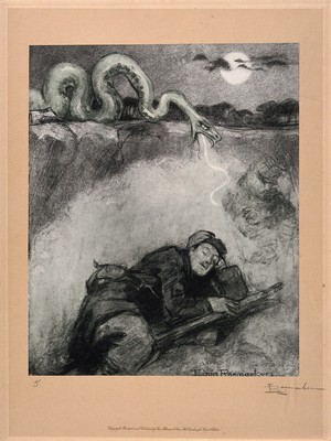 view World War One: a large snake, symbolic of a gas attack, strikes at a sleeping soldier. Colour halftone after a crayon drawing by L. Raemaekers.