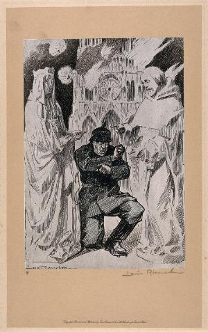 view World War One: a German soldier crouches in fear between two saintly mediaeval sculptures; behind Notre Dame is burning. Halftone after a pen drawing by L. Raemaekers.