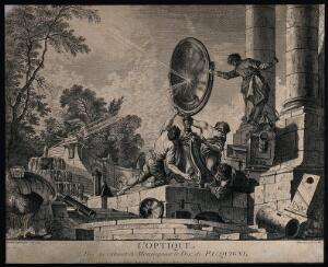 view An optical experiment using a giant lens to reflect sun-rays to create fire - with various optical instruments scattered and fountains in a Baroque setting. Line engraving by C.N. Cochin after J. de La Jouë.