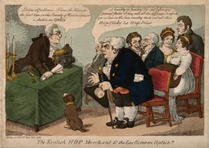 view A lecturer (William Kitchiner?) about to address a lecture on optics with the aid of candles, a telescope and magic lantern to a seated audience, he is interrupted by a Kentish hop merchant. Coloured etching, 1809, after G.M. Woodward.