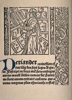 view The scholar, Periander in his library with printed text. Reproduction after a woodcut, 1488-89.