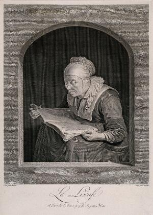 view An old woman reading. Line engraving by J.G. Wille after G. Dou.