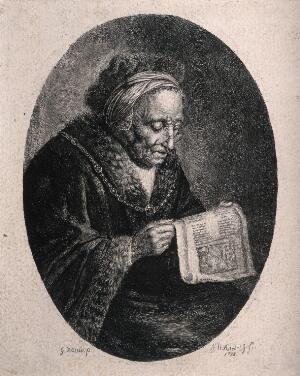 view An old woman reading with a fur-trimmed hat and coat. Etching by A.H. Reidel, 1781, after G. Douw.