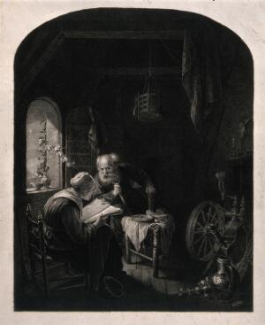 view An old couple sitting, the man leans over on his walking stick to listen to the woman reading from the bible. Line engraving after G. Dou.