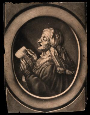 view An old woman wearing spectacles, reading the paper. Mezzotint.