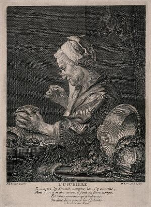 view A money lender sits at her kitchen table studying her money. Line engraving by D. Sornique after F.A. Kraus.