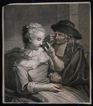 view A young blind woman gives a cleric a sum of money, while he peers through his spectacles. Line engraving.