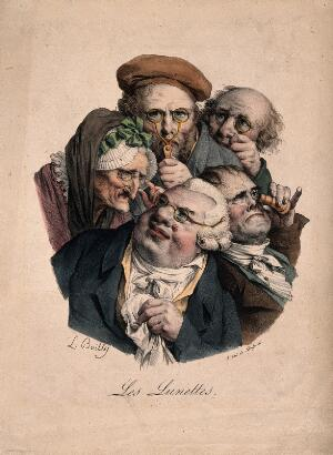 view Five people looking through various types of spectacles.. Colour lithograph by F.S. Delpech after L.L. Boilly.