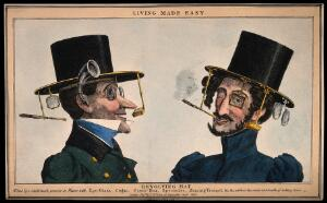 view A humorous image of two men wearing revolving top hats with several attachments for optical aids and tobacco etc. Coloured etching.