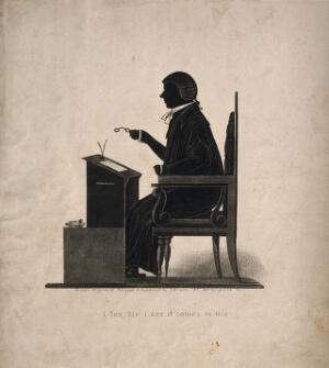 view Henry Brougham wearing wig and gown and holding spectacles in his hand at his desk with papers for 'Reform'. Aquatint silhouette by J. Bruce.